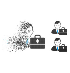 Dissolved dotted halftone ethereum accounter icon vector