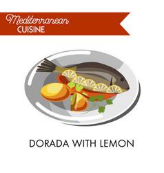 Dorada with lemon red sauce and fresh greenery vector
