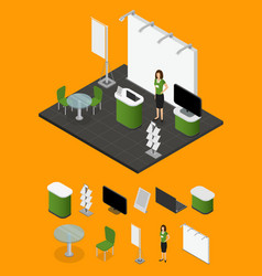 Exhibition show stand and elements part vector