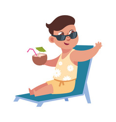 flat child on summer holidays at beach cute boy vector image