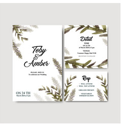 Floral wine wedding card design with banksia vector