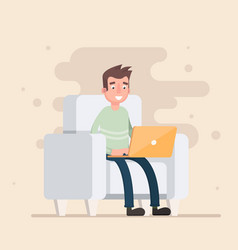 freelancer is sitting in the chair and working vector image