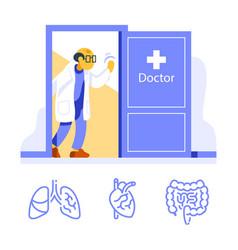 Friendly doctor at open door welcoming vector