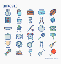 Garage sale or flea market thin line icons set vector