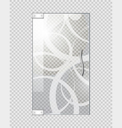 Glassy entrance door on checkered background vector