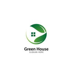 Green house logo template vector