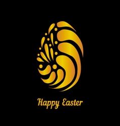 Greeting card with golden easter egg-5 vector image