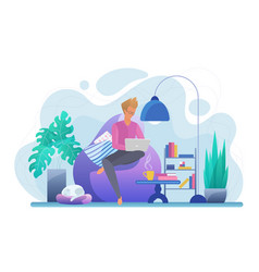 guy working with laptop flat vector image