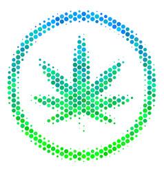 Halftone blue-green cannabis icon vector