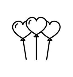 heart shaped balloons line icon sign vector image