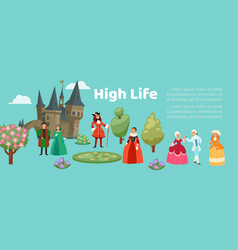 High life society people in renaissance clothing vector
