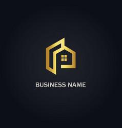 home design gold logo vector image