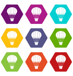 hot air balloon with basket icon set color vector image