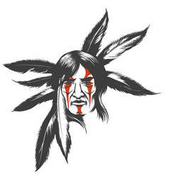 indian warrior in feather hair dress vector image