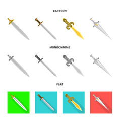 isolated object of game and armor symbol set of vector image