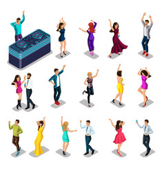 isometrics people dance set men and women party vector image