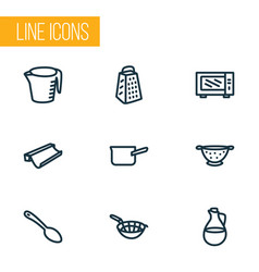 kitchenware icons line style set with casserole vector image