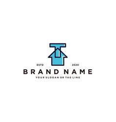 Letter t home logo design vector