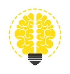 Light bulb with brain flat icon design vector image