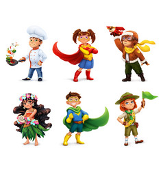 Little children in costumes superheroes cook vector