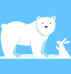 little white rabbit is looking at large polar bear vector image