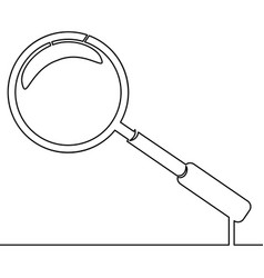 magnifier drawn by one line vector image