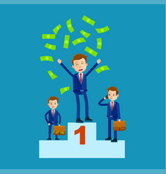 managers on top places with money rain flat theme vector image