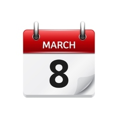 March 8 flat daily calendar icon Date and vector