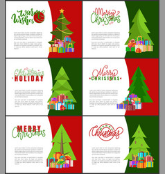 merry christmas invitations templates xmas trees vector image