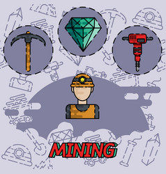 Mining flat concept icon vector