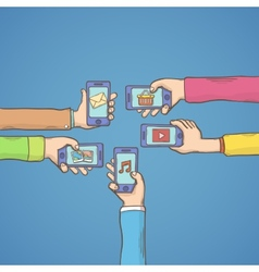 Mobile apps with hands vector image