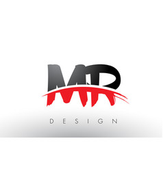 Mr m r brush logo letters with red and black vector