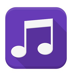 Music white note flat app icon with long shadow vector image