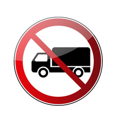 no truck sign forbidden red road sign isolated on vector image