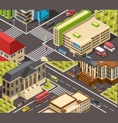 official buildings isometric banners vector image