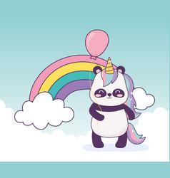 panda with unicorn and balloon rainbow decoration vector image