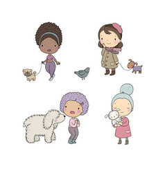 people with pets cute cartoon women with dogs vector image
