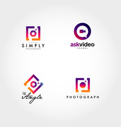 Photography video logo icon design set vector