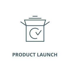 Product launch line icon linear concept vector