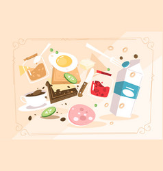 products for cooking breakfast vector image