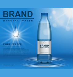 pure mineral water ad plastic bottle with water vector image