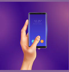 realistic smart phone in hand vector image