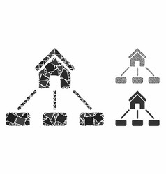 realty links mosaic icon inequal items vector image