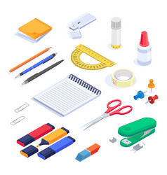 school supplies stationery isometric set vector image