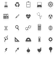 Science icons with reflect on white background vector image