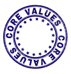 Scratched textured core values round stamp seal vector