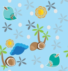 seamless pattern with bird palm tree and coconuts vector image