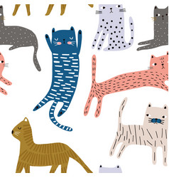 seamless pattern with cute colorful cats creative vector image
