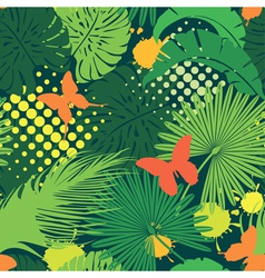 Seamless pattern with palm trees leaves and butter vector