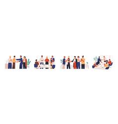 set diverse team congratulates colleague vector image
